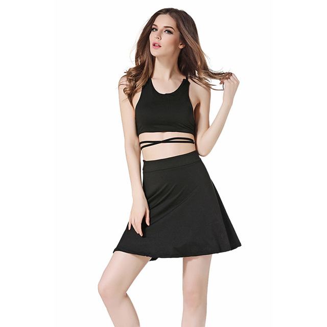 3ae3215c9 2017 New Holiday Beach Cute 2 Piece Set Sexy Backless Lace Up Tank Tops A  Line Mini Skirts Black Sexy Summer Set Suit Women