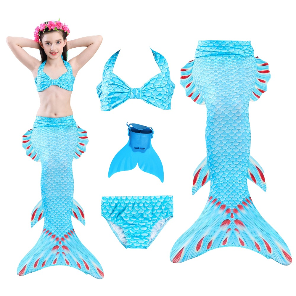 12 Colors Swimming Mermaid Tails for Swimming Costume Girls  Children Little Mermaid Swimsuit Swimwear Can Add Fin Cosplay