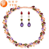 Super Luxury Colorful Cubic Zircon Necklaces Crystal Drop Earrings Rose Gold Plated Jewelry Sets For Bridal