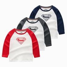 Youngster Boys Long Sleeve Tops Cartoon Superman Tee Shirt Children Clothing Kids Tshirt 7-14year Cotton Kids Graphic Tee