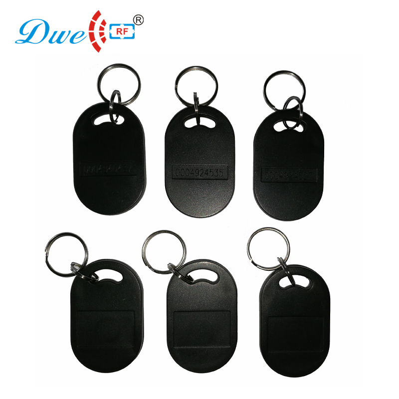 DWE CC RF access control card 125khz security token black color EM4100 chip keyfobs waterproof tag dwe cc rf 2017 hot sell 13 56mhz 12v wg 26 rfid outdoor tag reader for security access control system