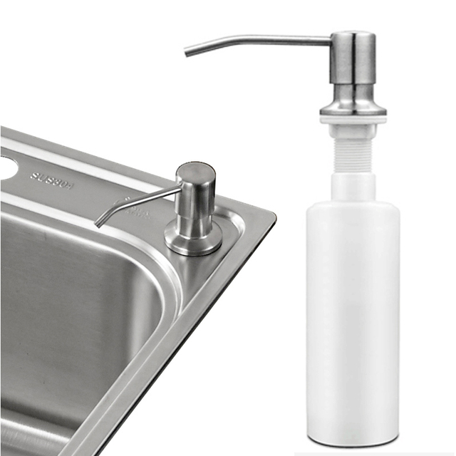 Dispenser Kitchen Cheap Cabinets Sale Stainless Steel Liquid Soap Promotion Deck Mount Brushed Nickel Sink Box Bottle