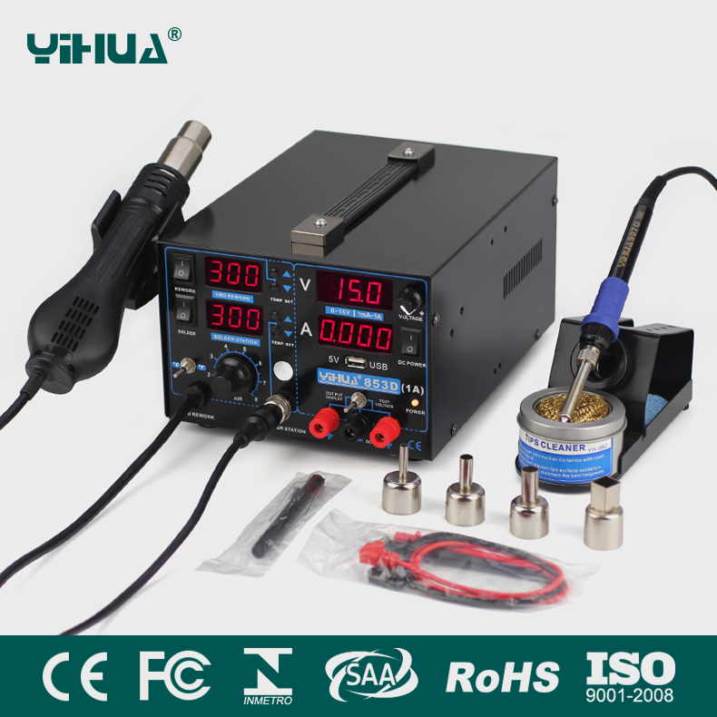 YIHUA 853D 1A USB SMD DC Power Supply Hot Air Gun Soldering Iron Rework Solder Station 110V/220V EU/US PLUG