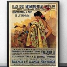 Bullfight Vintage Ad Barcelona España 1935 Corrida decoración pared película pintura decoración póster de impresiones de lienzo pinturas al óleo sin marco