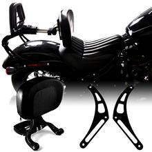 Soporte fijo y respaldo de pasajero ajustable multiusos, color negro brillante, apto para Softail Street Bob FXBB 2013 2018