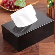 1set Christmas Gift Black Top Grade Acrylic Tissue Box Home Decor Rectangle napkin holder car tissue box cover servilletero caja