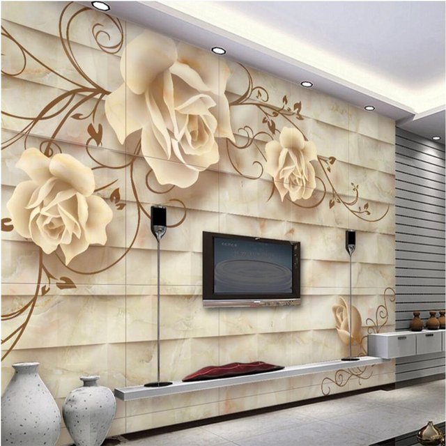 Beibehang Large Wallpaper Murals Photo Custom Any Size European Style Ceramic Tile Wall Art Tv