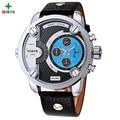 30 M Impermeable Reloj Deportivo Hombres de Primeras Marcas de Lujo Macho Regalo Reloj de Pulsera de Cuero Genuino Reloj Casual Analong Reloj Del Deporte 2016