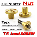 3pcs T8 trapezoidal screw nut brass copper nut pitch 1mm lead 1mm Free shipping