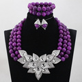 Trendy Chunky Fashion Vintage Women Wedding Necklace Set Purple Crystal Beads Jewelry Sets Multilayer Bohemian Statement ABH289