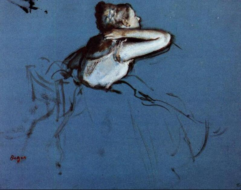 High quality Oil painting Canvas Reproductions Seated Dancer in Profile (1873)   By Edgar Degas hand paintedHigh quality Oil painting Canvas Reproductions Seated Dancer in Profile (1873)   By Edgar Degas hand painted