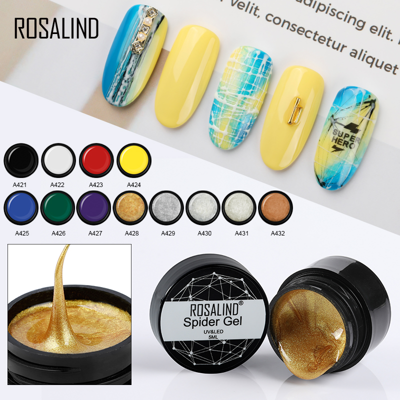 ROSALIND паук Гель Дизайн ногтей 5 мл дизайн ногтей в домашних условиях точка к линии рисунок и Живопись украшения потянув шелк паук гель лак