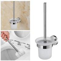 1set Portable Zinc Alloy Lavatory Brush Toilet Brush & Holder Set Bathroom Supplies Wall Mount Mounted Brush Cup Holders