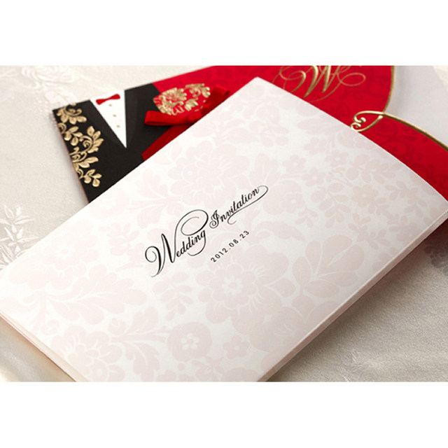Online shop 10 pieceslot new classic bride and groom wedding 10 pieceslot new classic bride and groom wedding invitation cards red and black chinese style wedding invitation card cw1051 stopboris Gallery