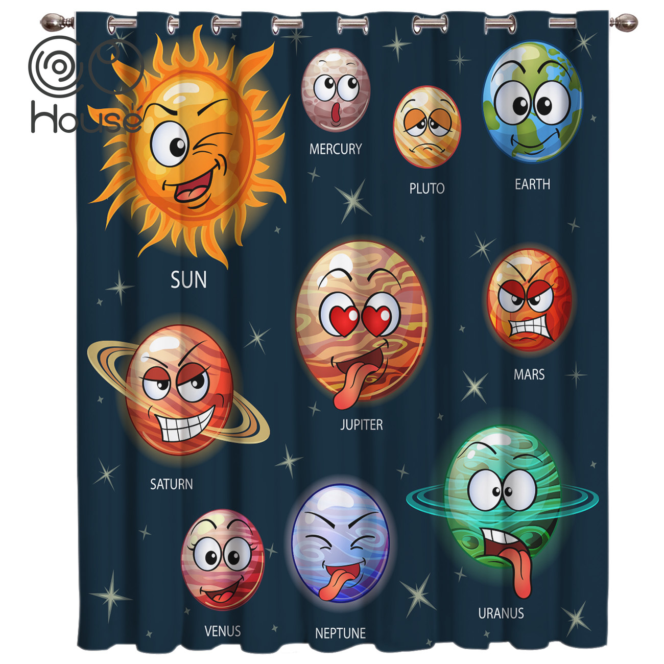 Cartoon Planet Pattern Room Curtains Large Window Bathroom Outdoor Indoor Valance Curtains Outdoor Curtains Window