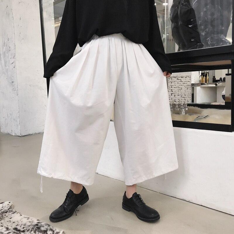 Moda masculina Kimono blanco Harem hombres Japón estilo suelto Casual  pantalón de pierna ancha Pantalones 07c6bf89fecb