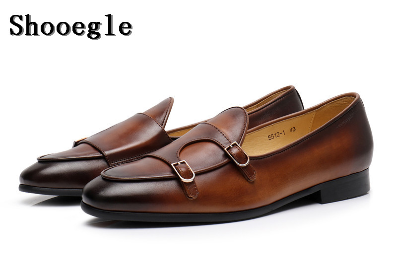 Здесь продается  SHOOEGLE Fashion Real Leather Vintage Style Men Casual Shoes Double Monk Strap Buckle Loafers Wedding High Quality Dress Shoes  Обувь