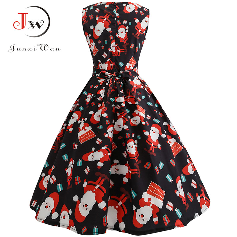 S~3xl Christmas Dress Women Floral Print Slim Vintage Dress Casual Sleeveless Elegant Midi Party Dresses Vestidos Robe #5