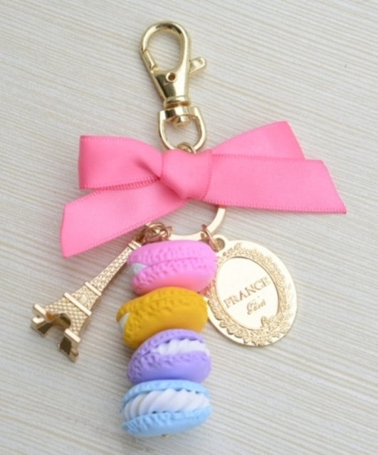 2015 New Classic Polymer clay Macaron Bag Charms Keychain Car Keychains Christmas Valentine's Mother's Day Gifts free shipping