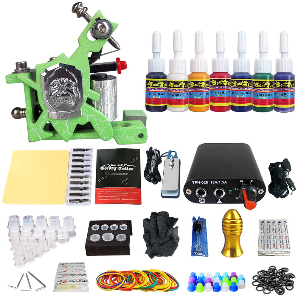 Hybrid Complete Tattoo Coil Machine Kit For Liner Shader Power Supply Foot Pedal Needles Grip Tips Tattoo Body&Art TK105-28 2017 pro complete tattoo machine kit set 2pcs coil tattoo machine gun power supply needles grips tips footswitch for body art