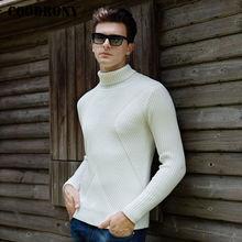COODRONY cálido grueso de cuello alto suéter de los hombres de invierno suéter de Navidad para hombres de lana de punto para Homme Slim Fit suéteres de Cachemira 8203