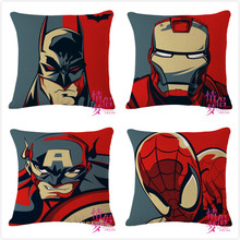 Iron man pillow cover, Avengers superhero spiderman batman Captain America throw pillow cover pillowcase Wholesale