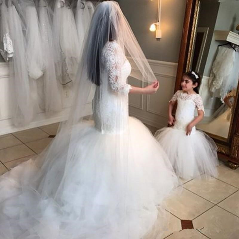 adcf23358 New Puffy Tulle Lace Flower Girl Dress for Weddings Long Sleeves ...
