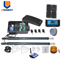 12VDC Solar powered swing arm gate operators kit with solar panel y controller (photocells,lamp,button,gsm opener optional)