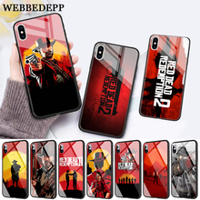 WEBBEDEPP Hot Red Dead Redemption 2 Glass Phone Case for Apple iPhone XR X XS Max 6 6S 7 8 Plus 5 5S SE webbedepp hot red dead redemption 2 glass phone case for apple iphone xr x xs max 6 6s 7 8 plus 5 5s se