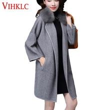 2017 Nuevo Otoño Invierno suéter mujeres más tamaño cuello de piel de zorro  punto cardigan suéter 6c2547d19f6