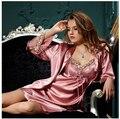 Новый Женский шелк Пижамы Набор Пижамы С Длинным Рукавом 2-х Частей Ночная Рубашка Плюс Размер Пижамы Для Женщин Пижамы Халат Устанавливает 714