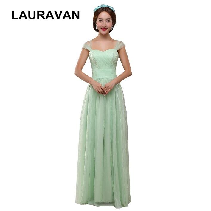 Bretelles modestes sexy élégant coréen deux-épaule menthe vert robe de demoiselle d'honneur robes en tulle pour la fête longue robe de bal de mariage