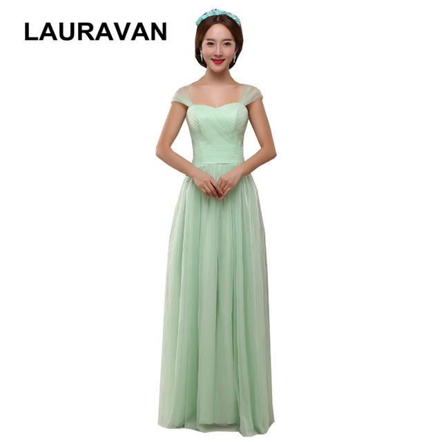 modest straps sexy elegant formal korean two-shoulder mint green bridesmaid  dress tulle dresses for party long ball gown wedding 12c0caaadb68