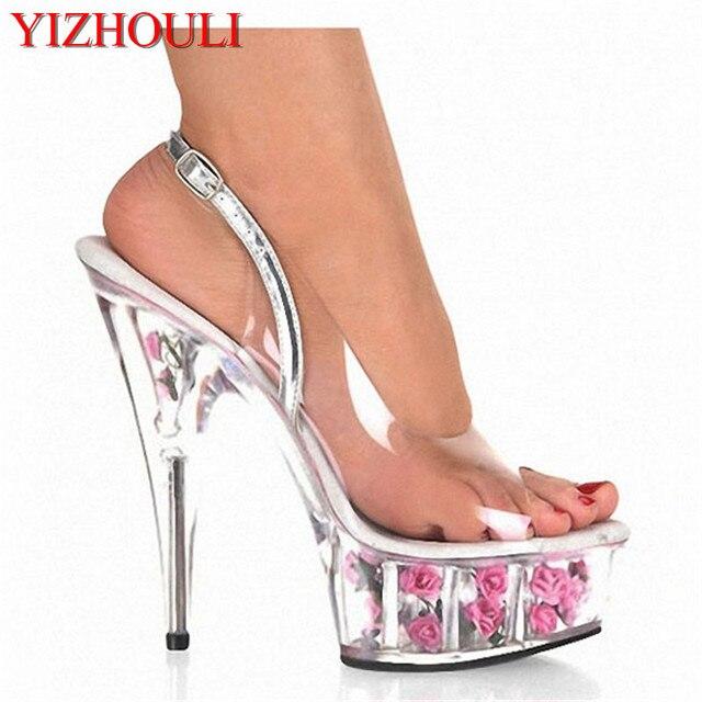 Sweet Elegant 15cm Ultra High Heels Rose Evening Dress Shoes The Transparent Upper And Flowers 6 Inch Platform Crystal Sandals