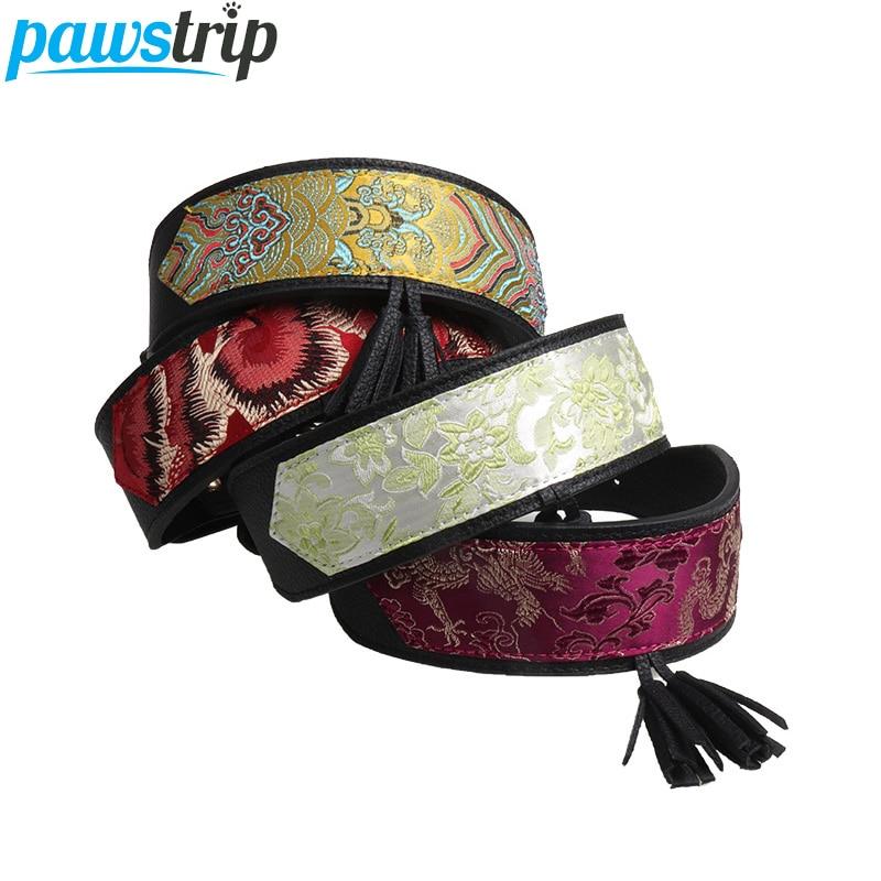 pawstrip 10 Patterns Luxury Dog Collar Strong Leather Pitbull Collar Flower Print font b Pet b