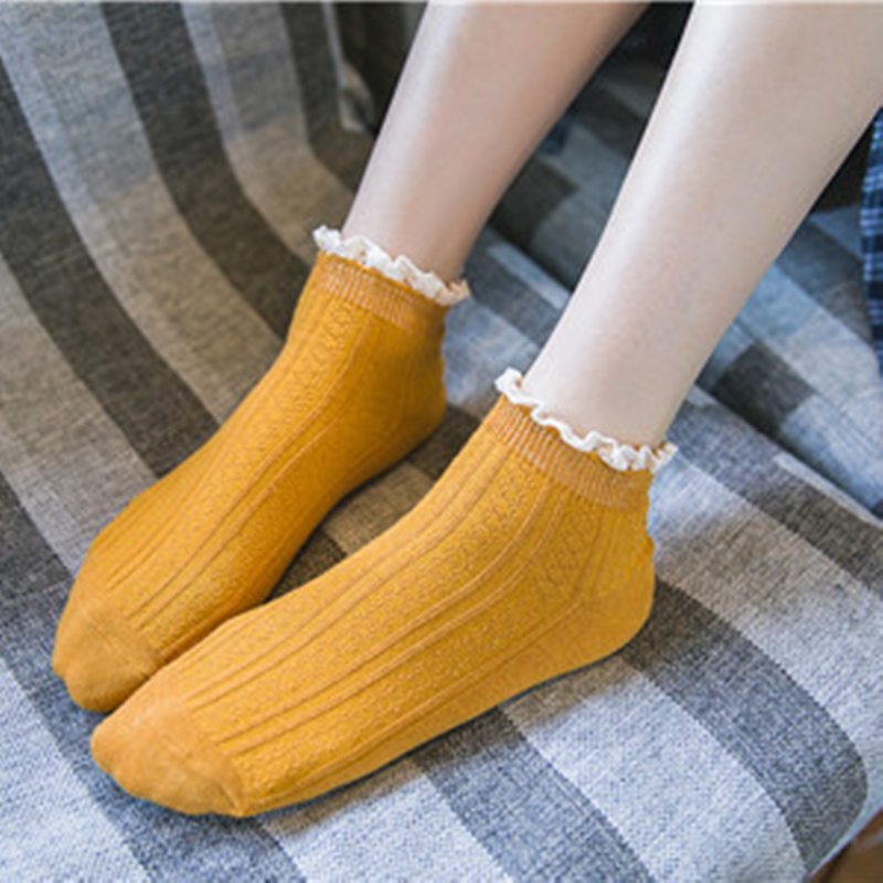 IOLPR 2019 spring autumn women socks short cotton solid color lace cute ankle high quality fashion Ruffled Knitting
