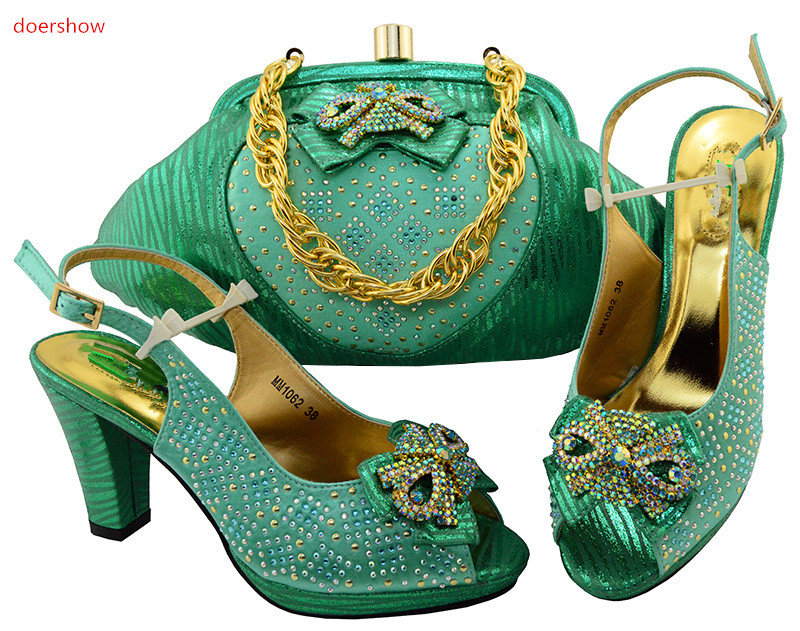 doershow 2018 Italian Shoes with Matching Bags Set Shoe and Bag Set for Party In Women Rhinestone Wine Shoe and Bag Set  SIU1-31 doershow high quality italian shoe and bag to match women shoes african party shoes and bag set green with rhinestone kh1 3