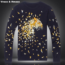 Chinese style diamonds leopard splicing printing boutique knitted sweater 2016 Autumn&Winter fashion high-end sweater men M-XXXL
