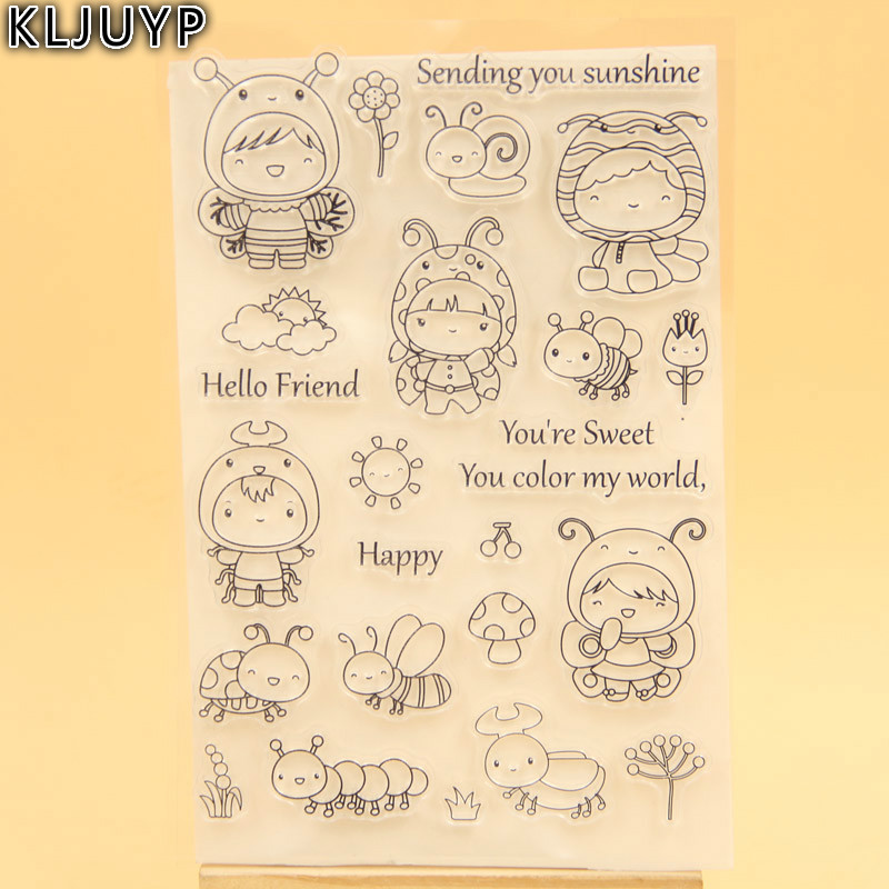 KLJUYP Cute Bee Transparent Clear Silicone Stamp/Seal for DIY scrapbooking/photo album Decorative clear stamp sheets lovely animals and ballon design transparent clear silicone stamp for diy scrapbooking photo album clear stamp cl 278