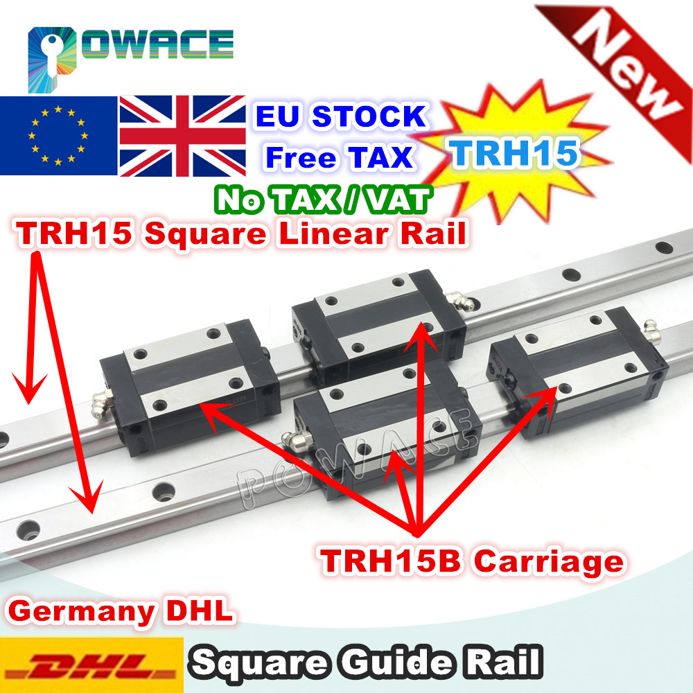 EU STOCK TRH15 Square Linear guide Rail 300mm 400mm 600mm for CNC Router Milling Machine