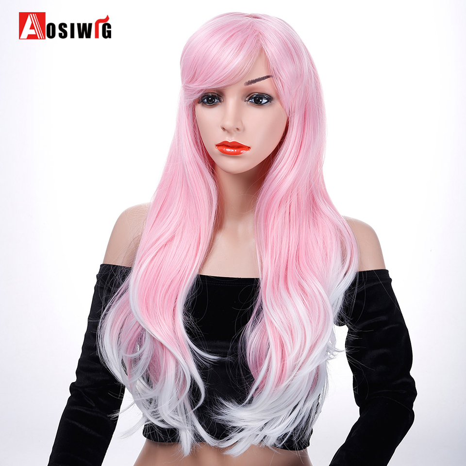Long Wavy Wig Omber Pink Hair Synthetic Costumes Party