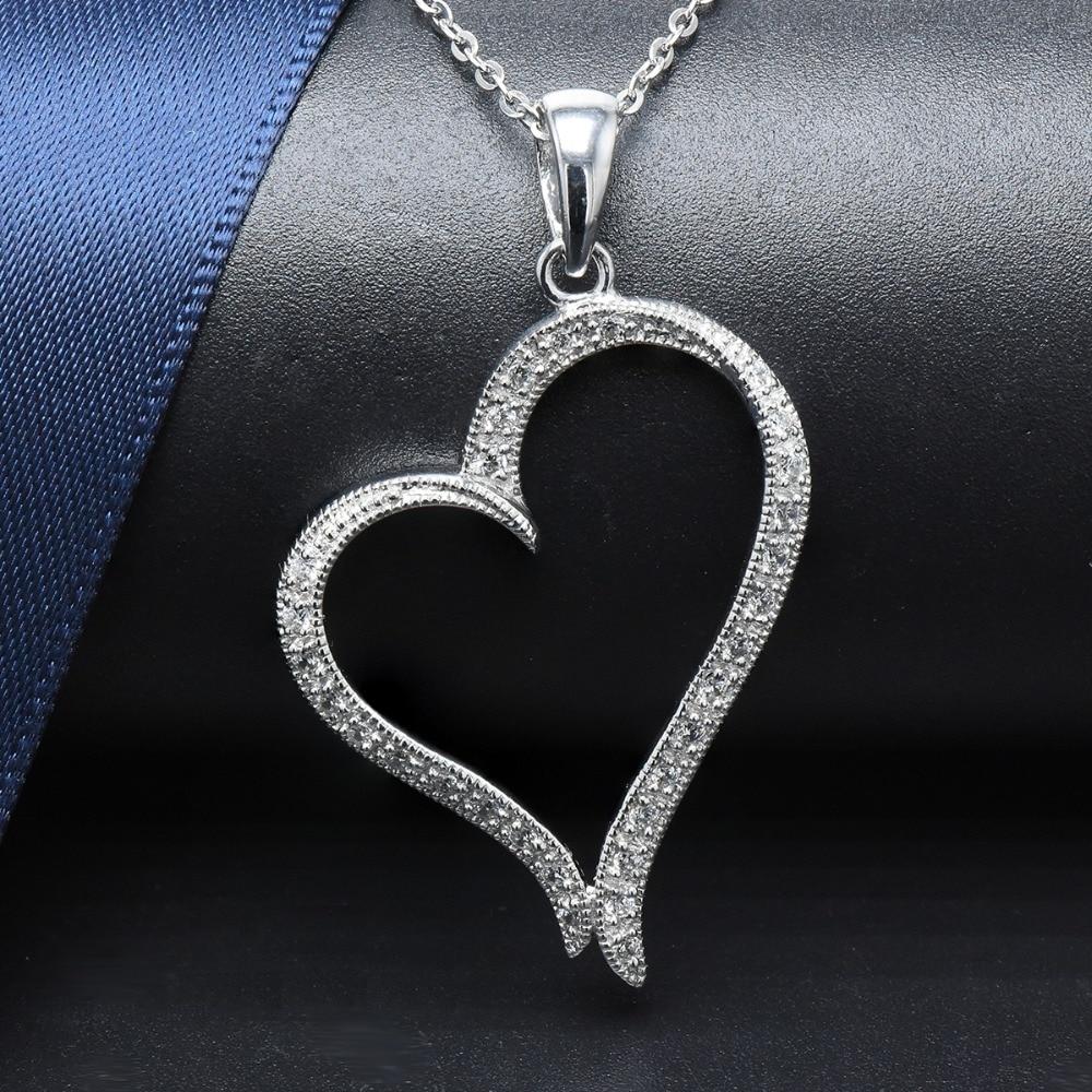 Hutang Heart Shape Genuine 925 Sterling Silver Pendant Necklace Cubic Zirconia Wedding Fine Jewelry for Women Girlfriend