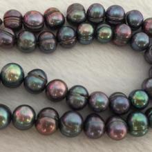 Огромный 9-10 мм Южное море барокко черный зеленый жемчуг ожерелье 18 дюймов 925s