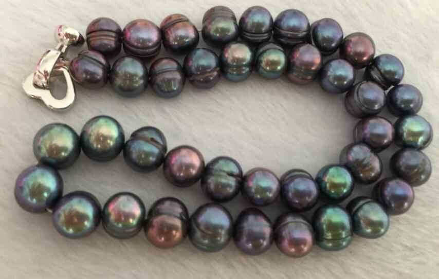 ขนาดใหญ่ 9-10mm south sea baroque สีดำสีเขียว pearl สร้อยคอ 18 นิ้ว 925s