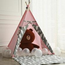 цена на Princess Teepee Fairy Play Tent Large Handcraft Pink Cotton Canvas Indoor Outdoor Kids Tipi Playhouse Little Girls Room Decor
