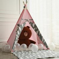Princess Teepee Fairy Play Tent Large Handcraft Pink Cotton Canvas Indoor Outdoor Kids Tipi Playhouse Little Girls Room Decor