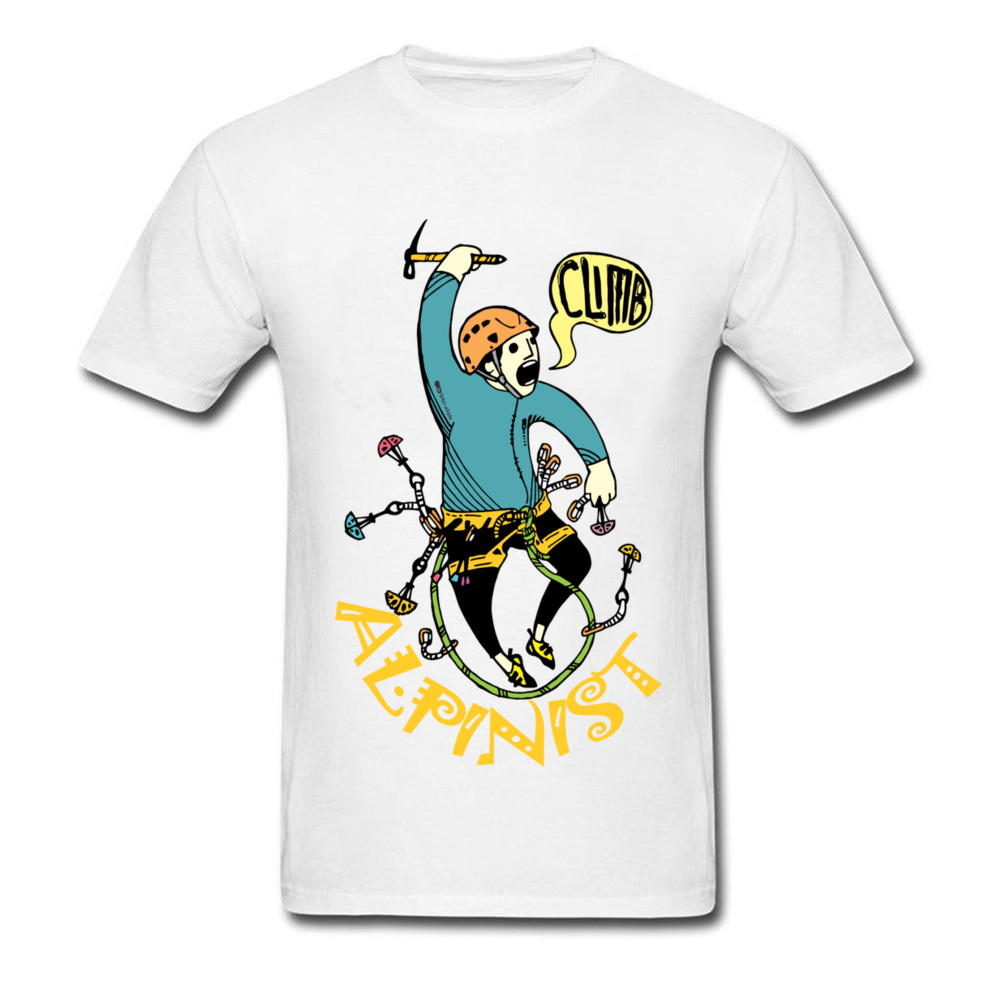 MAD ALPINIST 2018 Men Mountain Climbed Workout T Shirt Summer Cotton White T-shirt Comic Cartoon Clothing Funny