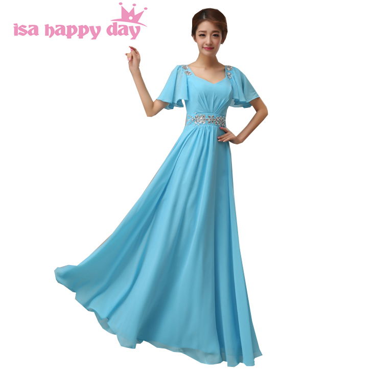 modern formal cap sleeve chiffon   bridesmaid     dresses   adult 2019 in light blue for plus size special occasion   dresses   H2259