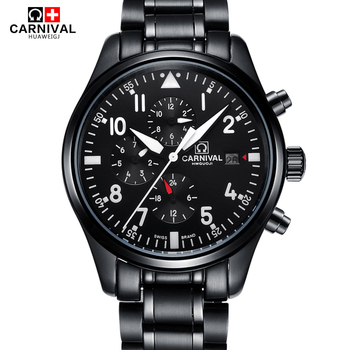 High End Automatic Watch Men CARNIVAL Pilot Sport Watch Waterproof 100m Double Calendar Sapphire luminous Mechanical Watches Men Mechanical Watches