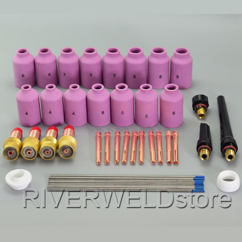 TIG KIT WL20 Lanthanate Tungsten & Gas Lens Collet Body & Nozzle For TIG Welding Torch WP 17 18 26 Consumables Accessories 46PCS